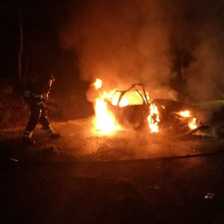 Auto raakt boom en vliegt in brand