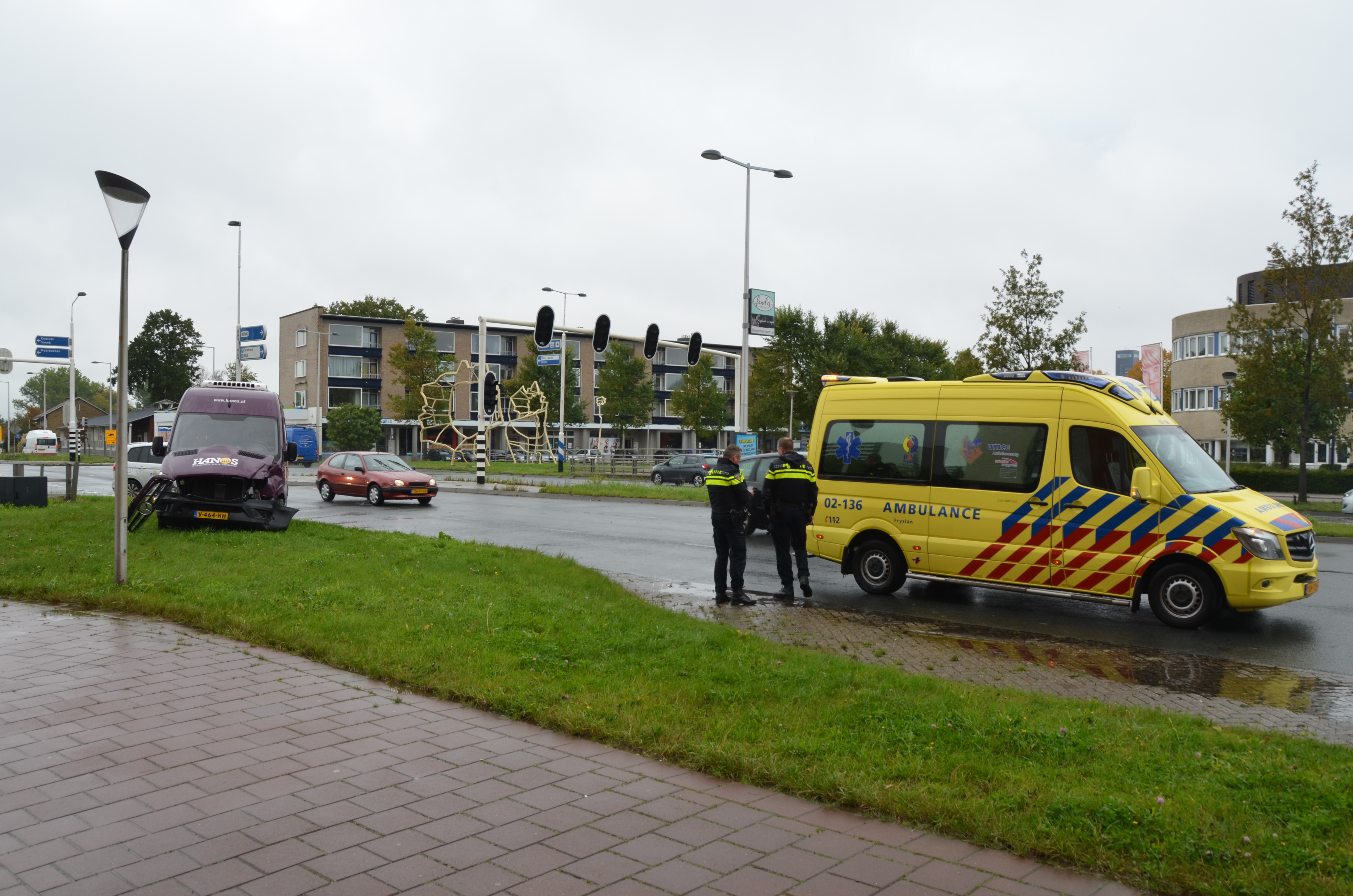 Brandweerauto betrokken bij aanrijding in Leeuwarden