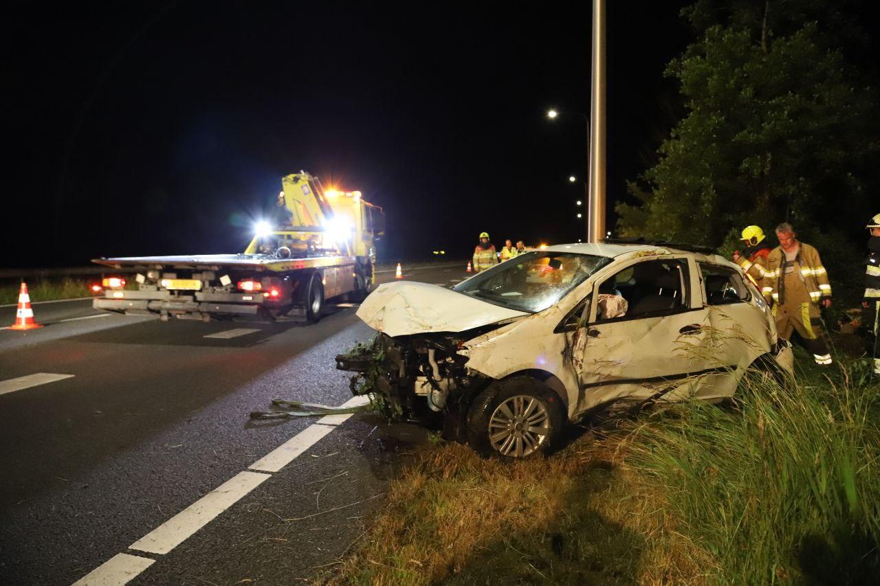 Bestuurder gewond na eenzijdig ongeval op de A7 bij Terwispel